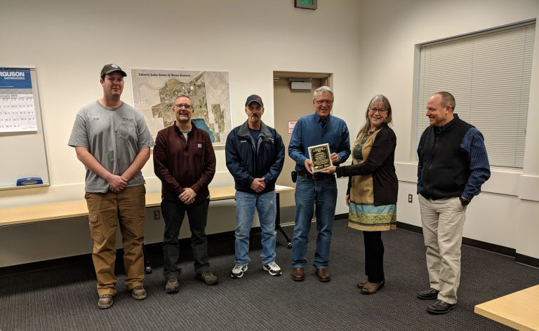 Water Reclamation Facility Chief Operator Dan Grogg, Facility Operators Darrell Gamble and Greg Sattler, and Wastewater Collection System Operators Mike West, Derek Nesbitt, and Cody Riggs